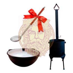 Чугунный казан с печкой недорого - Купить комплект: казан и печь с дымоходом